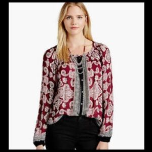 Lucky Brand Paisley Burgundy Peasant Blouse Small